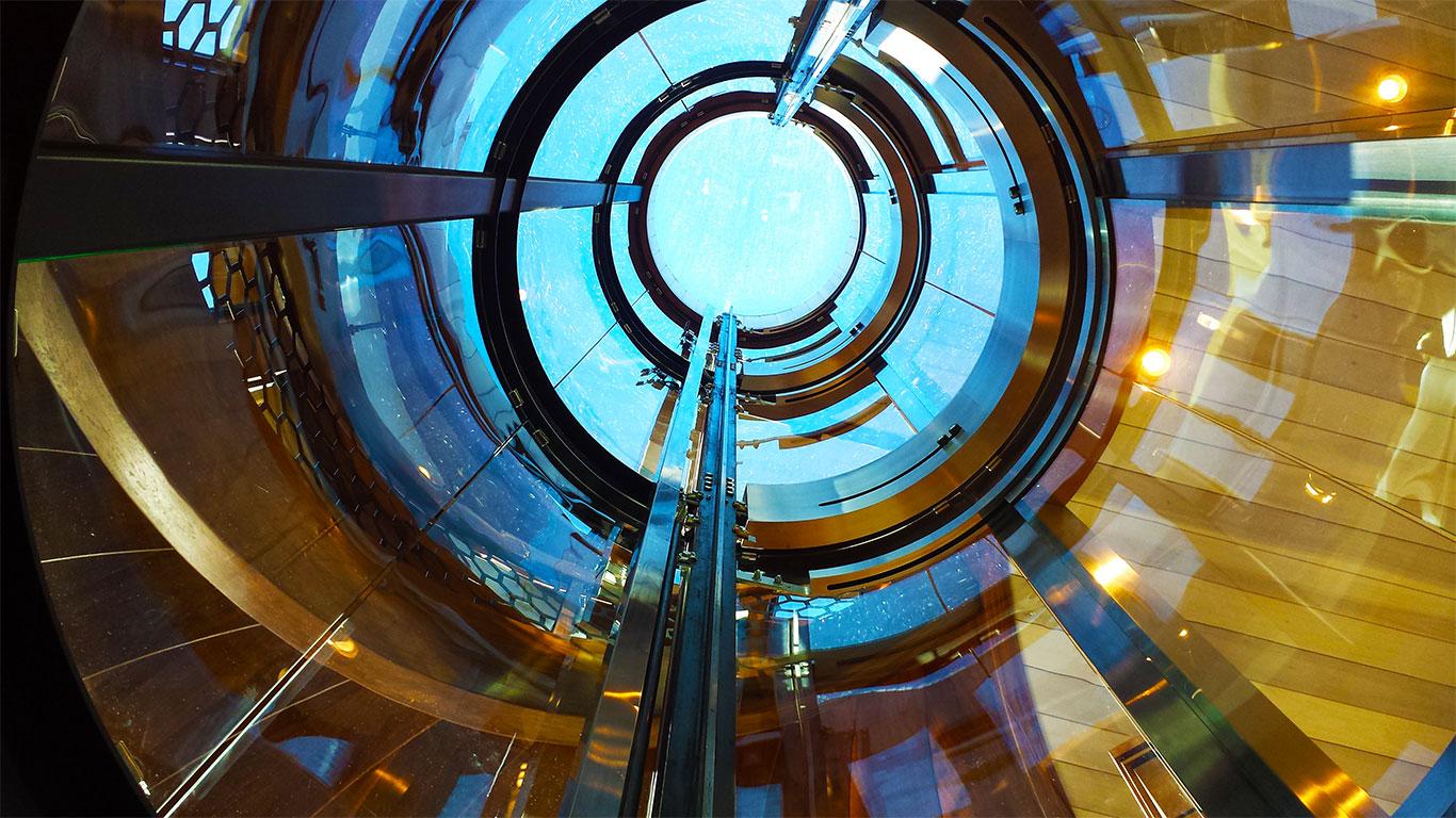 Round glass elevator shaft