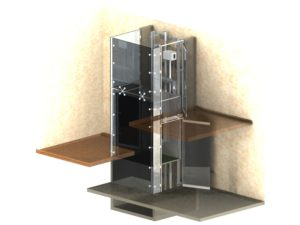 Glass elevator 3D architecture