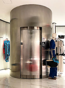 curved stainless steel lift