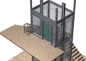 Wrought iron 3D elevator architecture